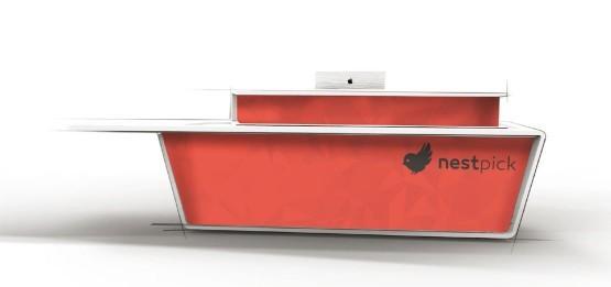 mobilier bureau accueil rouge