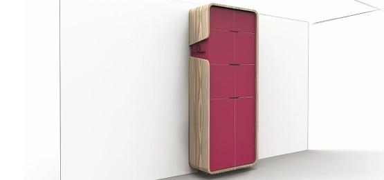 meuble de bureau rangement haut rouge